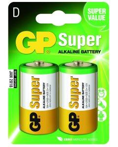 Blister de 2 piles Alcalines SUPER D,LR20